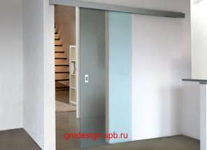 Раздвижные стеклянные двери - стекло сатинат 8мм.