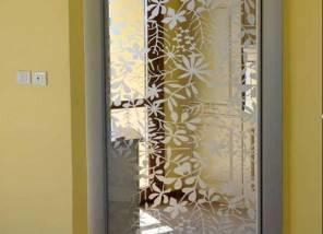 Раздвижная дверь с пескоструйным рисунком.