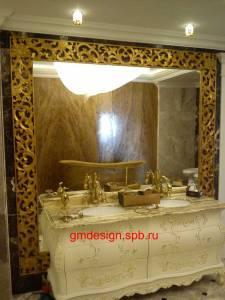 зеркало с полкой и подсветкой для ванной