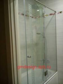шторки для ванной стеклянные раздвижные фото цена